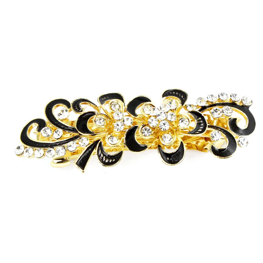 Shiny Rhinestones Detail Black Swirl Flower Hairclip French Clip