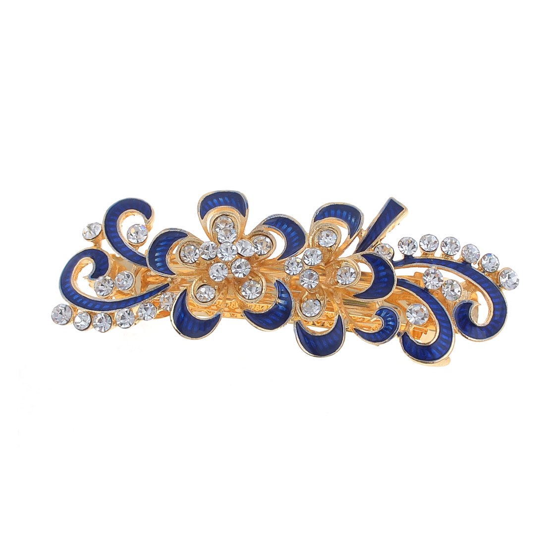 Women Royal Blue Flower Shape Metal Barrette French Clip