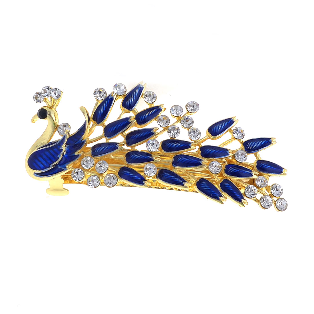 Lady Royal Blue Peacock Design Shiny Faux Rhinestone Inlay Barrette French Clip