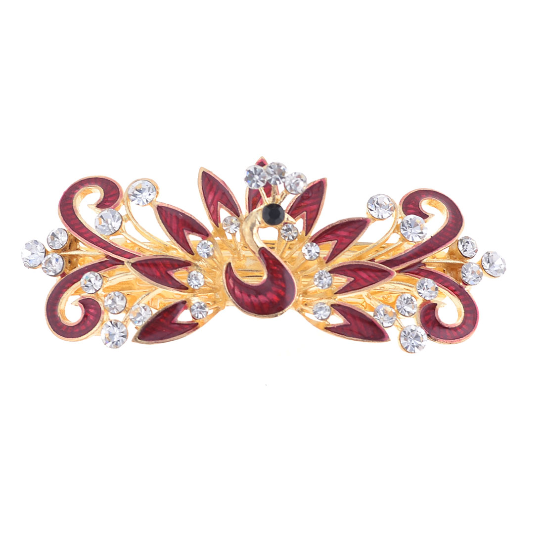 Ladies Glittery Rhinestone Accent Peacock Design Barrette Hairpin Burgundy