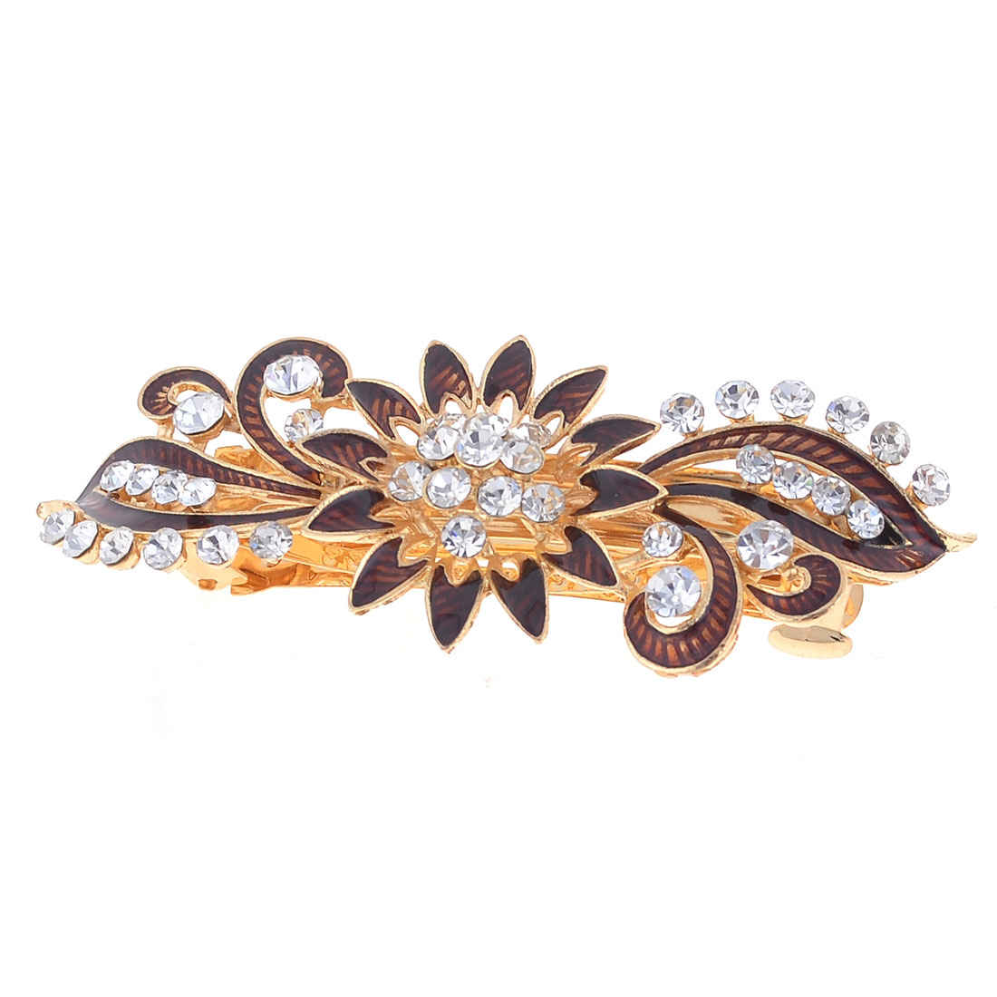 Shiny Rhinestone Chocolate Color Flower Design Hair Clip Barrette for Ladies