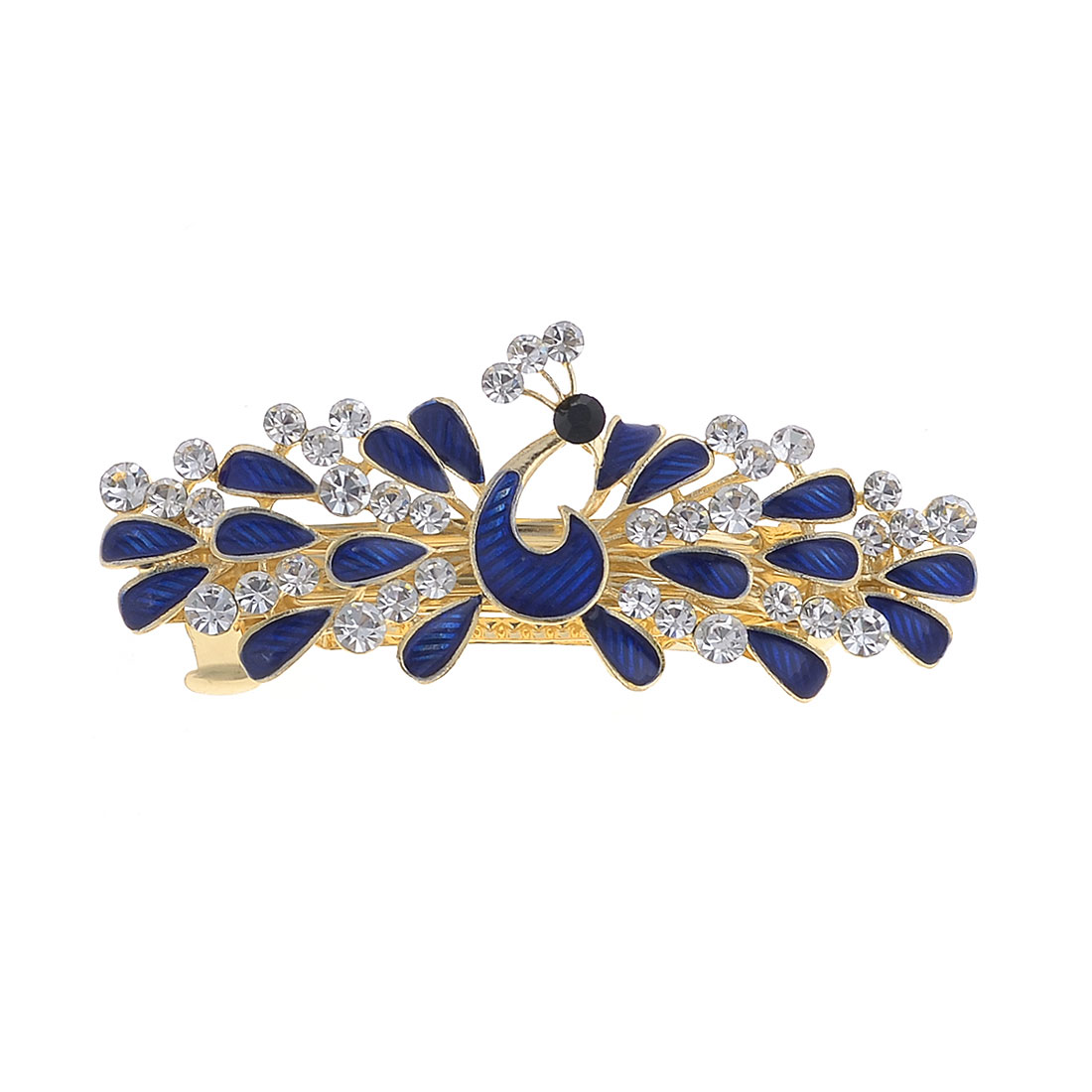 Lady Dark Blue Peacock Design Barrette French Clip