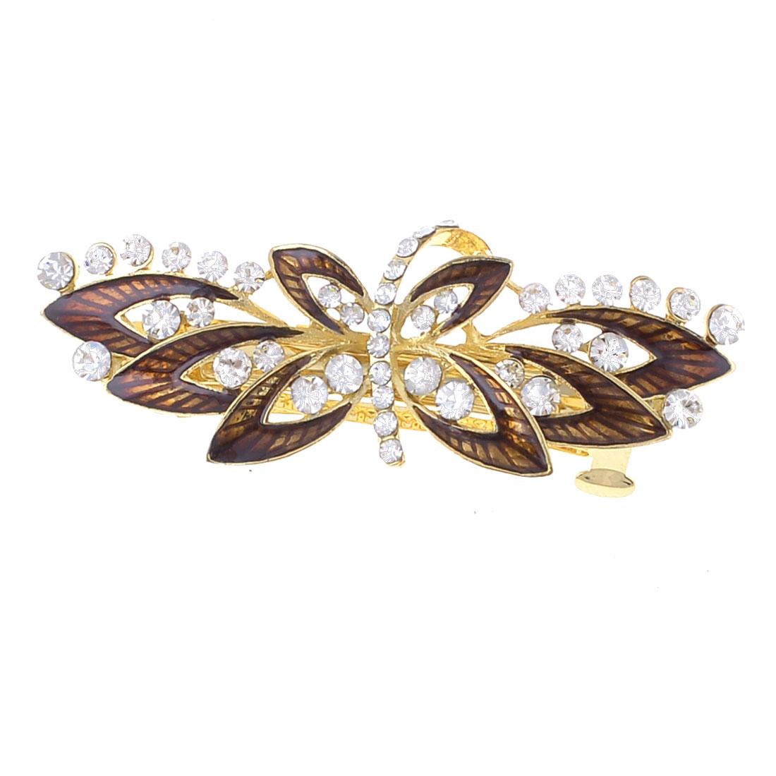 Women Burgundy Floral Design Metal Barrette French Clip