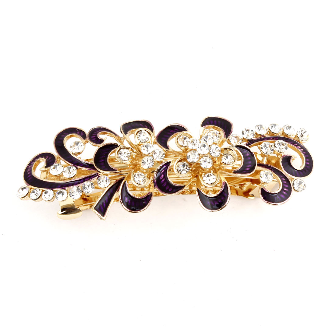 Dark Purple Rhinestones Inlaid Swirl Floral Barrette French Hair Clip