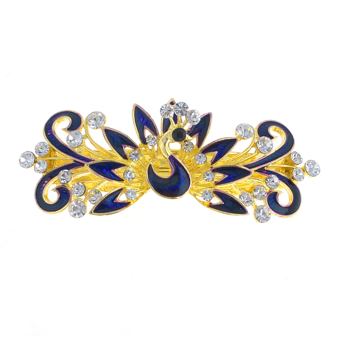 Lady Dark Purple Peacock Design Faux Rhinestone Inlay Gold Tone French Clip