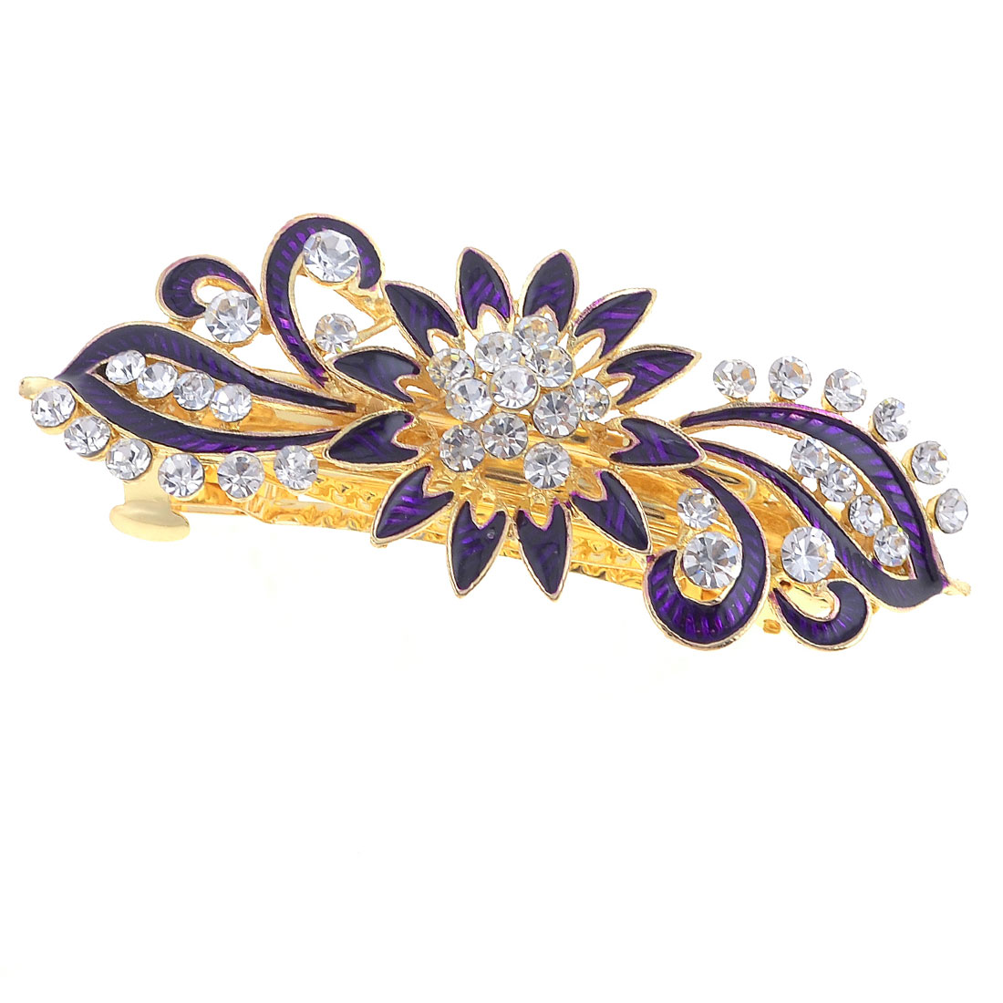 Woman White Rhinestone Gold Tone Metal Dark Purple Flower French Hair Clip