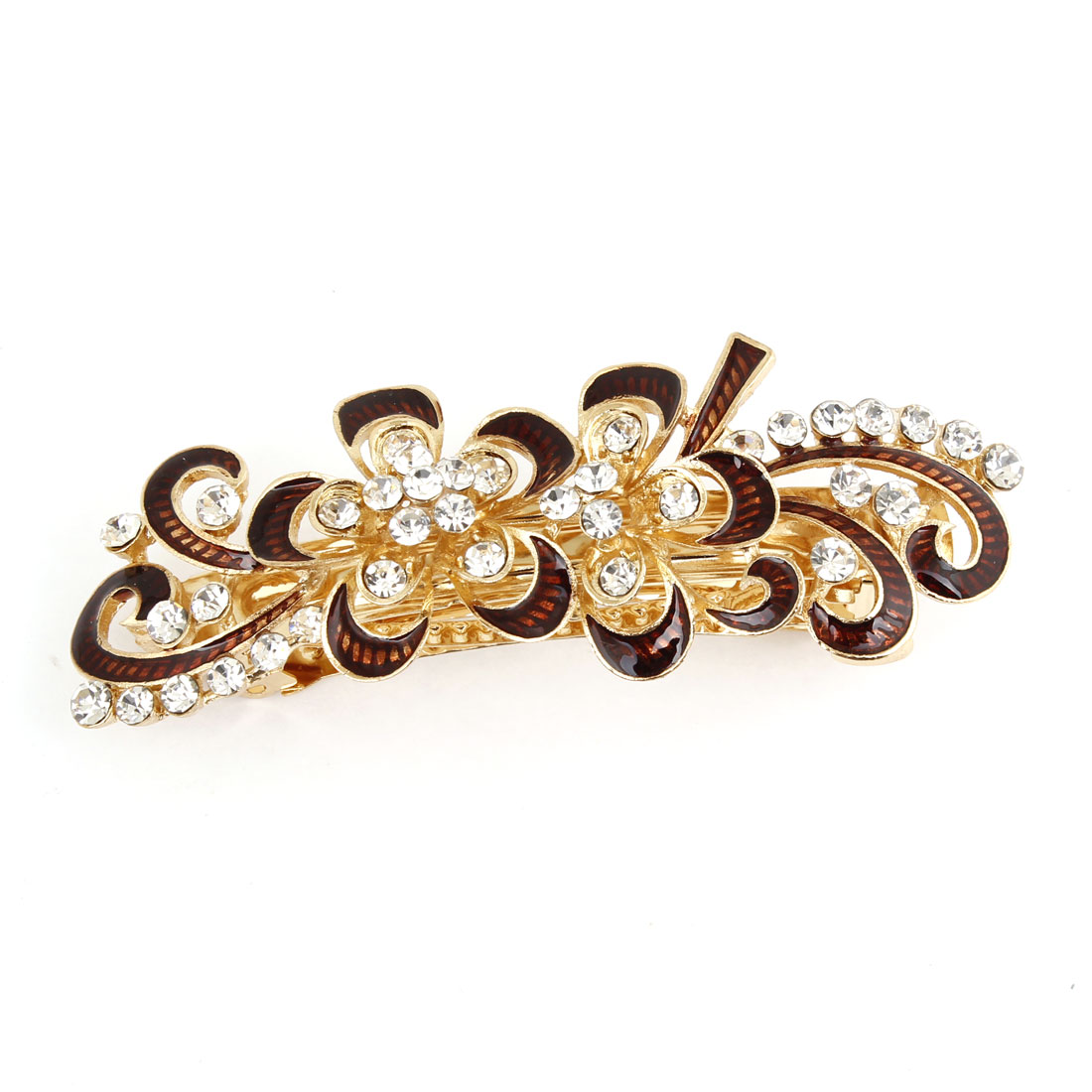 Rhinestones Accent Floral Vine Metal Barrette Hair Clip Dark Brown