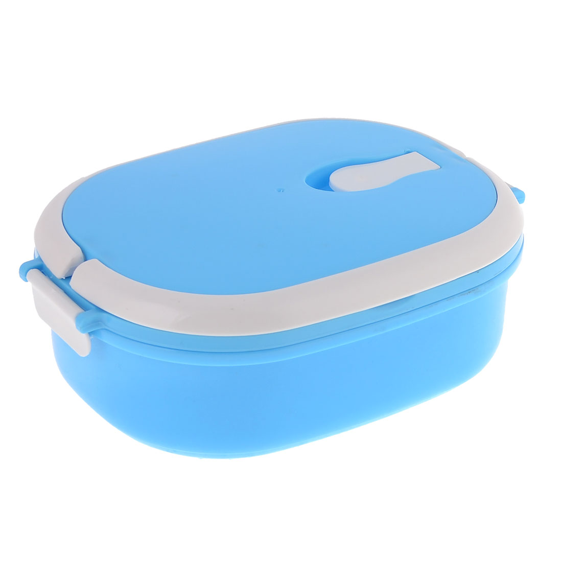 Blue White Plastic Lunch Box Food Storage Container w Spoon