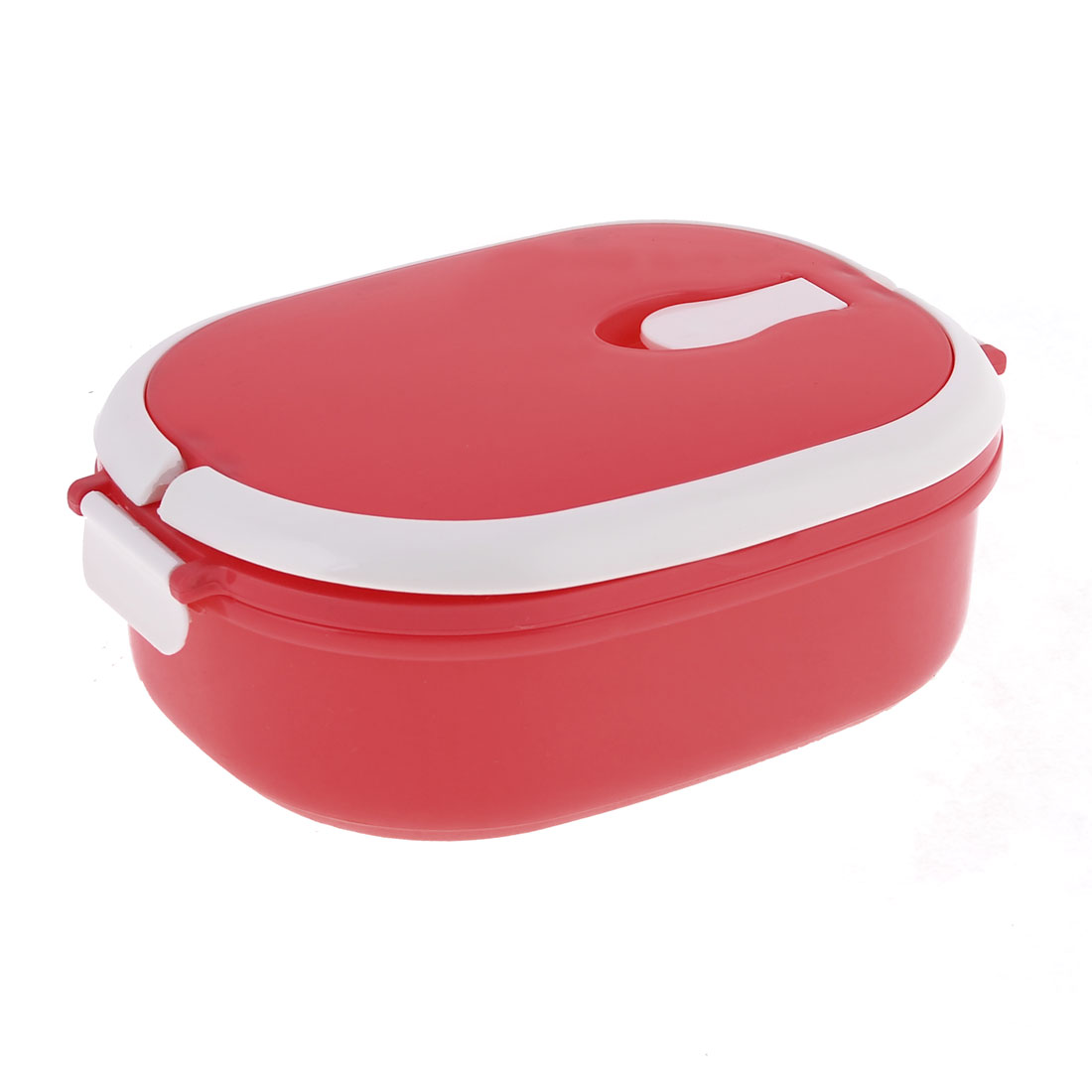 Home Kitchen Ellipse Shaped Plastic Container Case Lunch Box Red