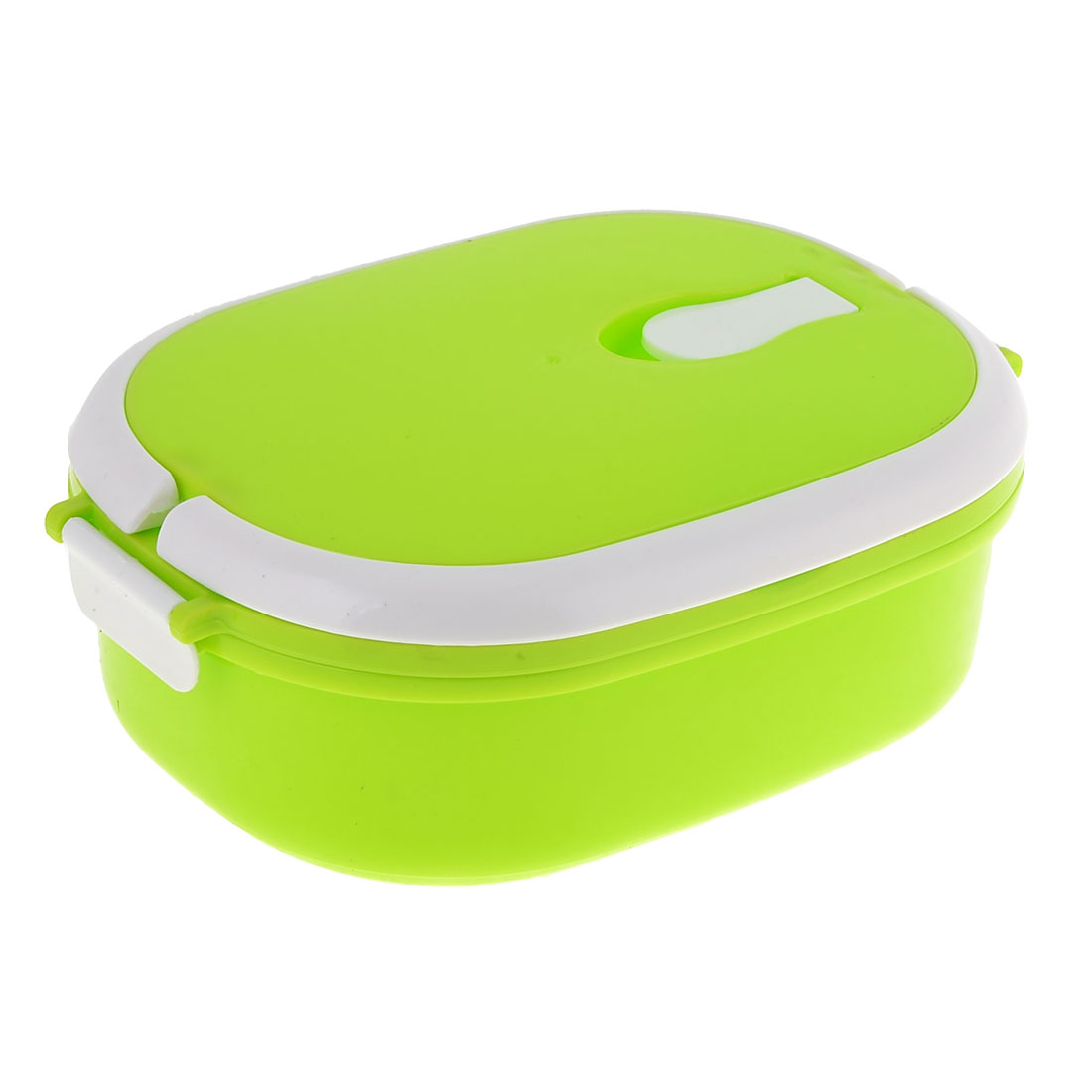 Kitchenware Ellipse Shaped Plastic Spoon Dinner Case Lunch Box Light Green