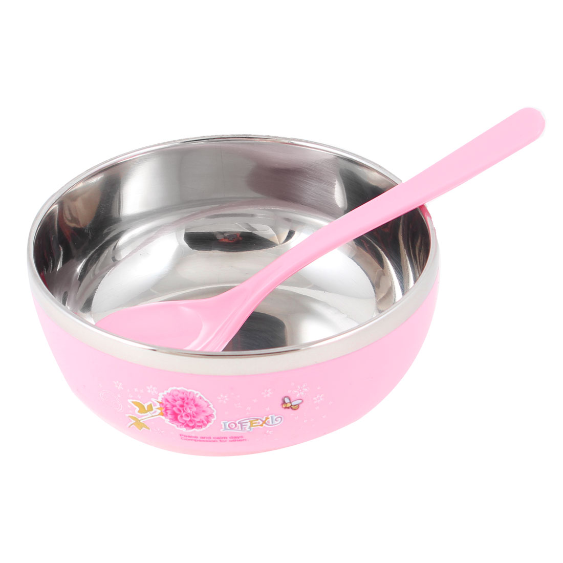 "Pink Silver Tone 4.3"" Dia Round Shape Cereal Dessert Dinner Rice Bowl"