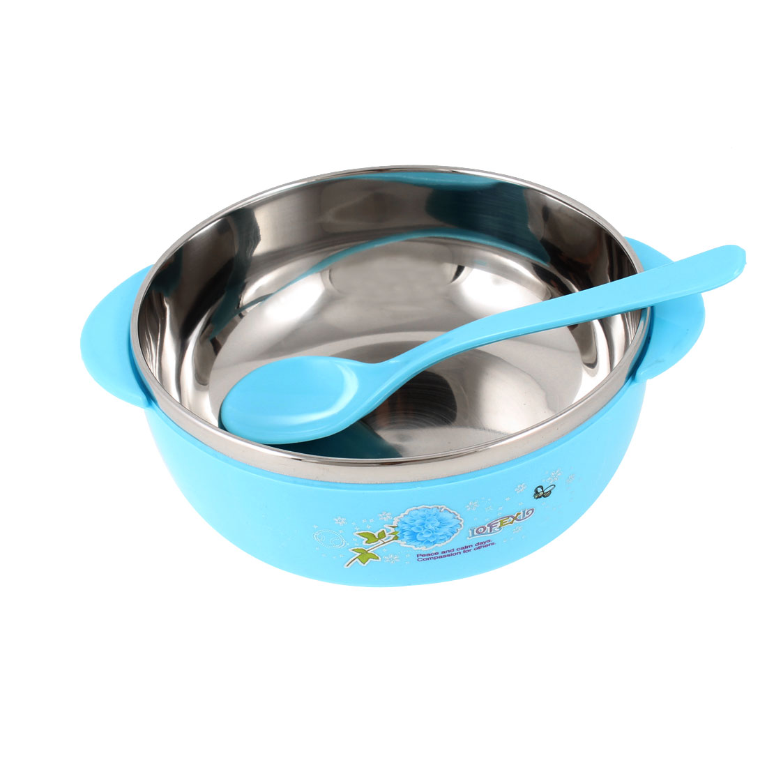 Kitchen Sky Blue Plastic Coated Stainless Steel Dinner Rice Bowl