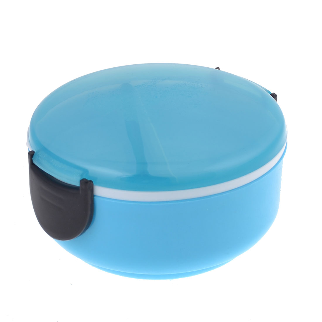 Blue Round Shaped Double Layers Food Dish Container Lunch Box w Spoon