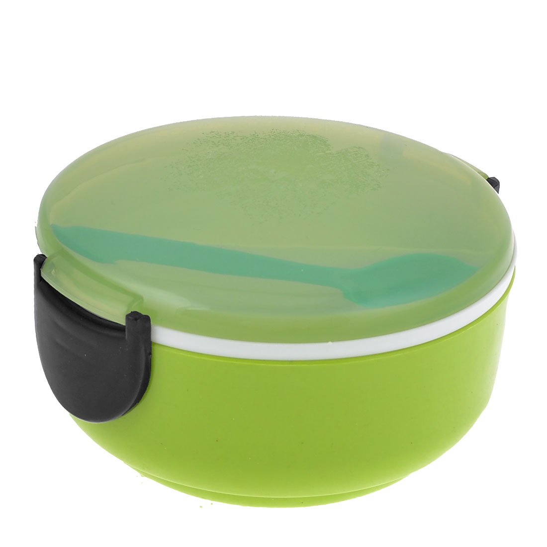 Kitchenware Clear Green Plastic Lid Round Shaped Lunch Box w Spoon
