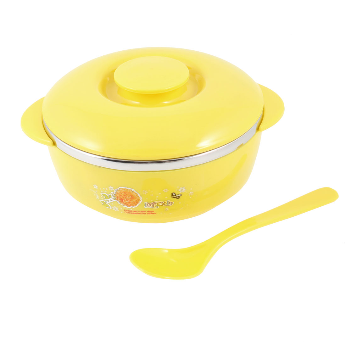 "Yellow Silver Tone Ear Handle 4.9"" Dia Cereal Dessert Dinner Rice Bowl w Cover"