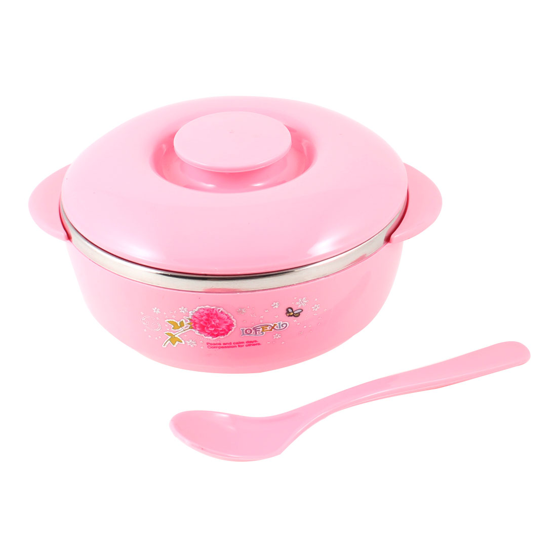 """Family Pink Silver Tone 4.9"""" Dia Cereal Dessert Dinner Rice Bowl w Lid"""