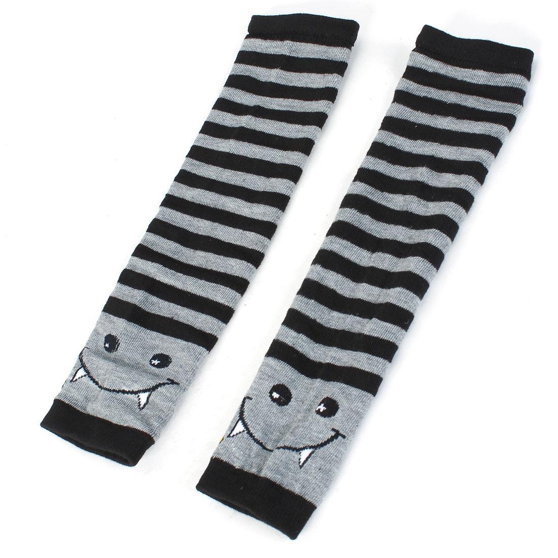 Ladies Striped Print Ribbing Winter Fingerless Arm Gloves Black Gray Pair