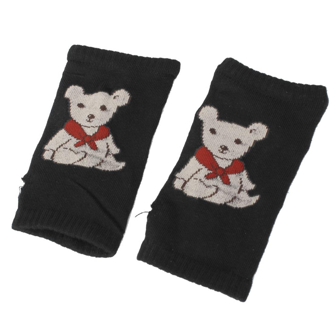 Pair Bear Pattern Stretch Fingerless Wrist Length Gloves Black for Woman