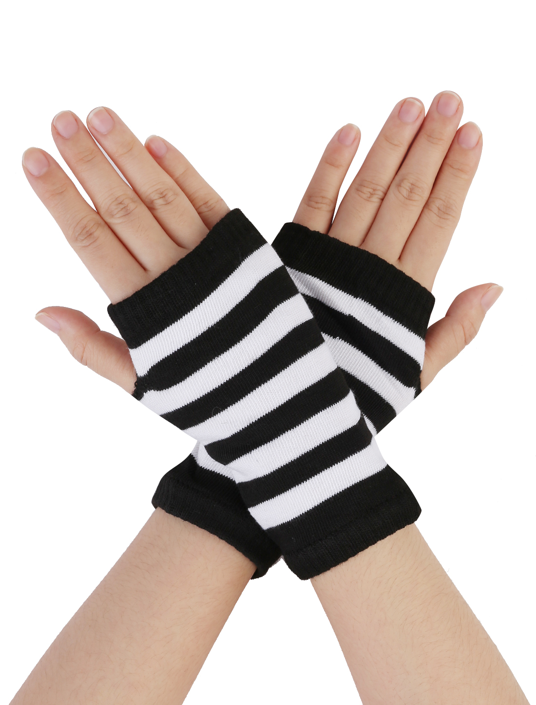 Pair White Black Knitted Stretchy Fingerless Winter Gloves for Woman