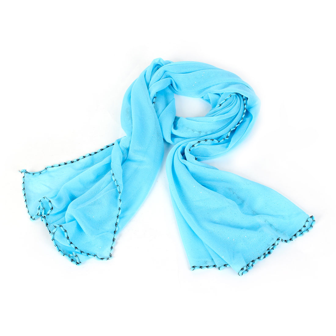 Women Fashion Rectangle Shape Wrap Scarf Stole Shawl Baby Blue