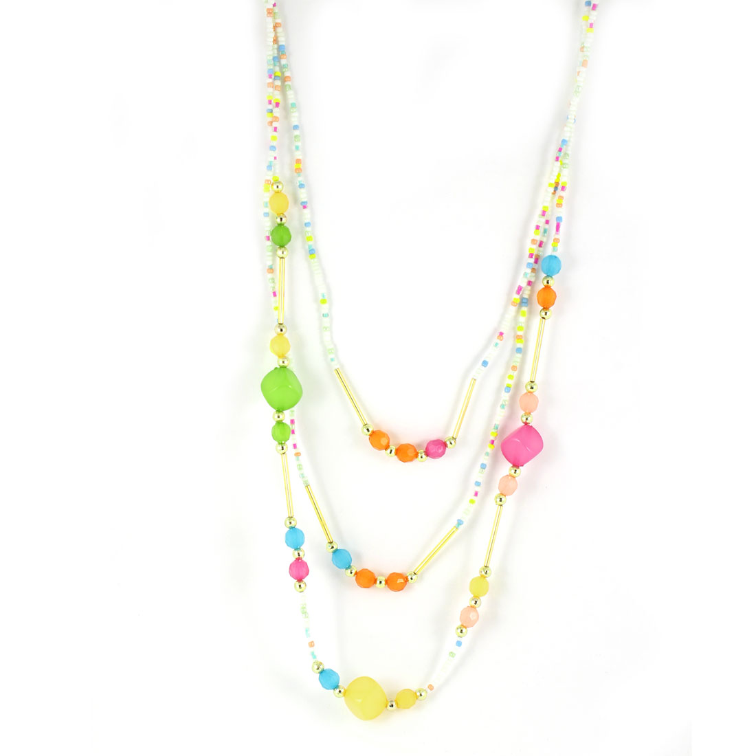 Ladies Assorted Color Square Round Shape Beads Linked Sweater Necklace