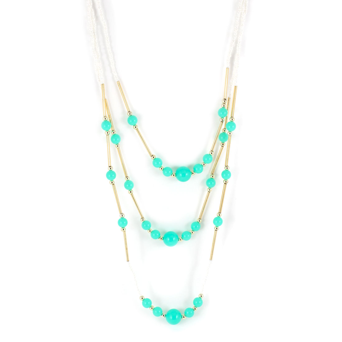 Woman White Turquoise Gold Tone Plastic Beads Sweater Necklace