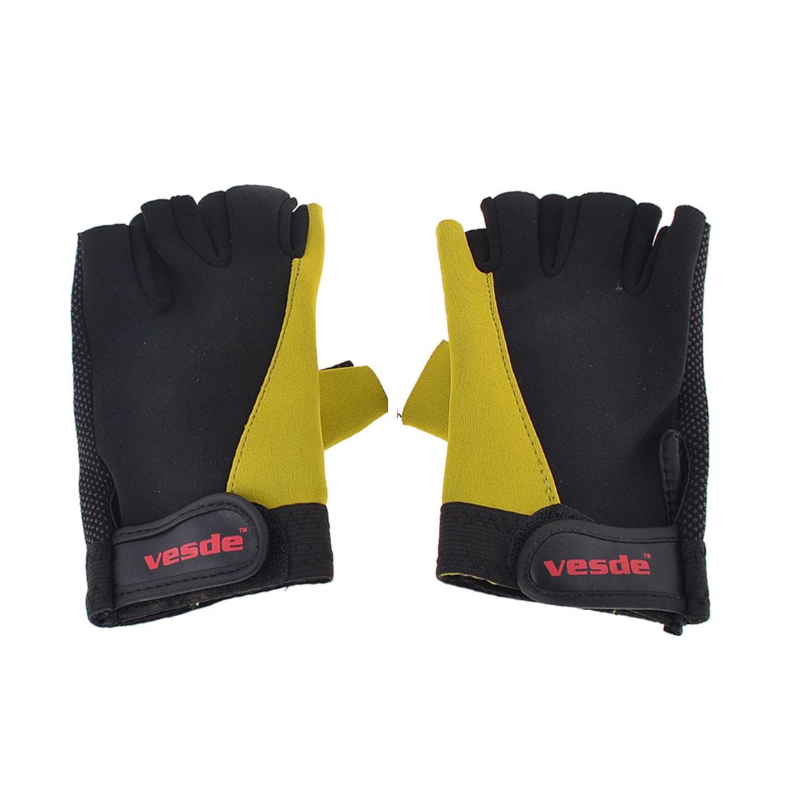 Pair Fingerless Nonslip Bike Skiing Sports Gloves Yellow Black for Man