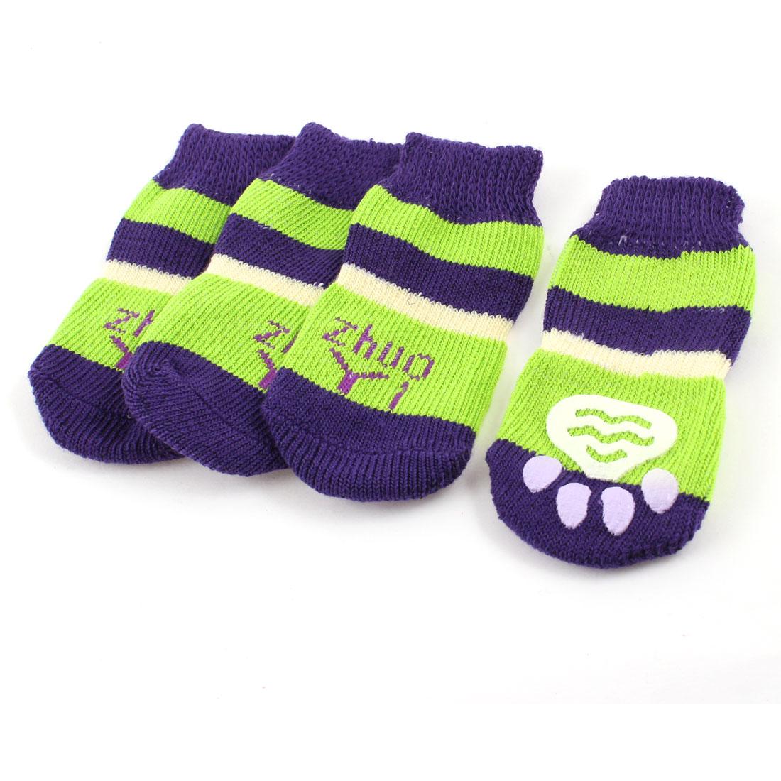 2 Pairs Purple Green Letter Paw Pattern Elastic Cuff Pet Dog Cat Puppy Socks