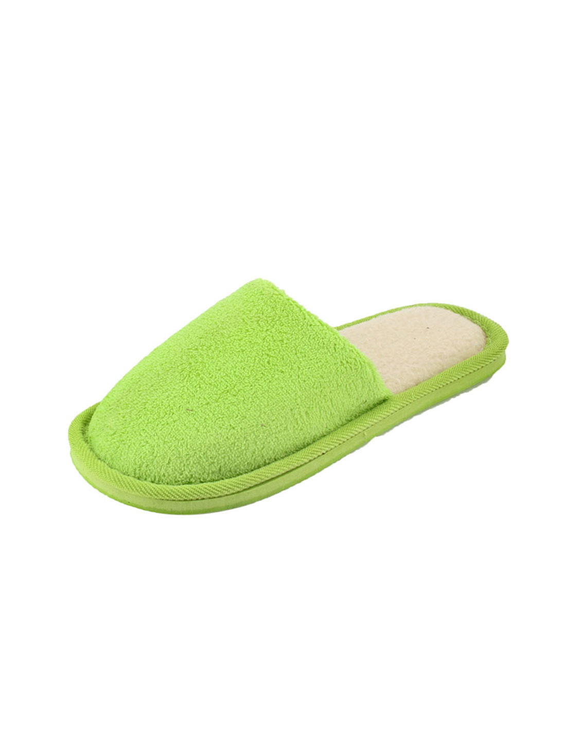 Light Green Slip On Fleece Lining Plush Warm Slippers Shoes US Size 9 Pair