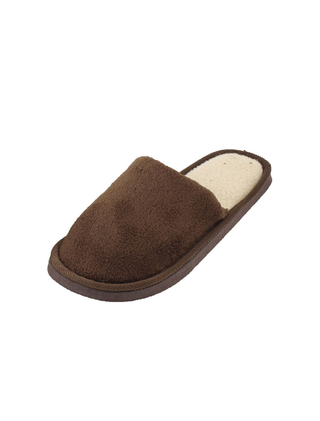 Man Coffee Color Slip On Fleece Lining Plush Warm Slippers Shoes US Size 9.5 Pair
