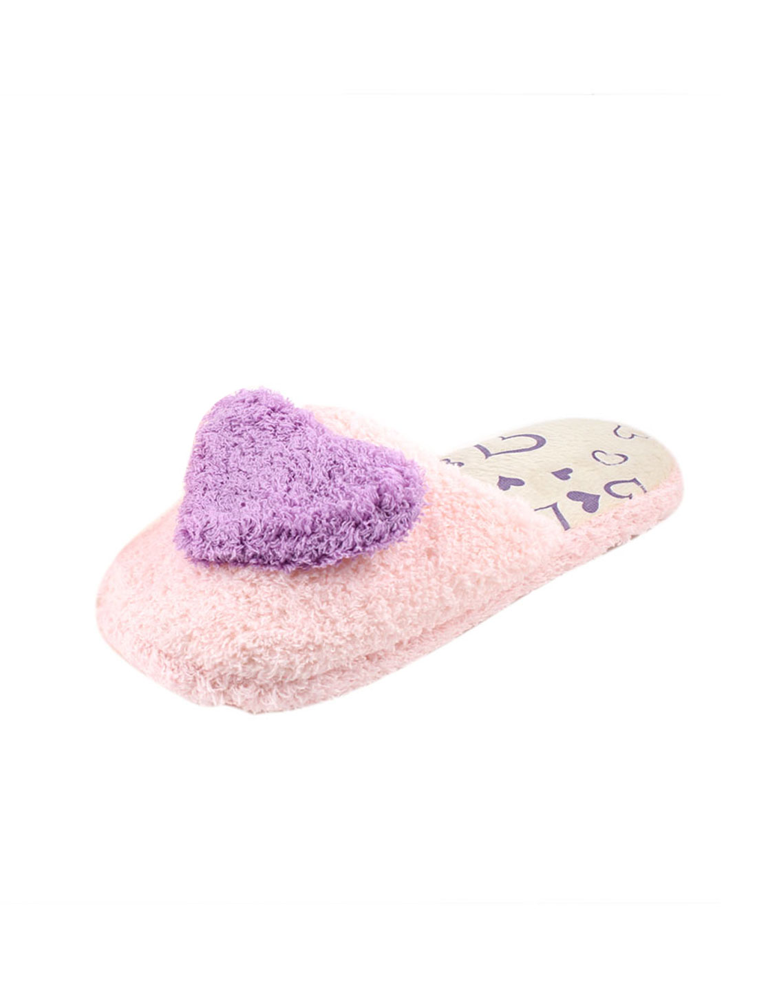 Lady Purple Heart Orament Rubber Sole Warm Plush Slippers Shoes UK Size 5 Pair