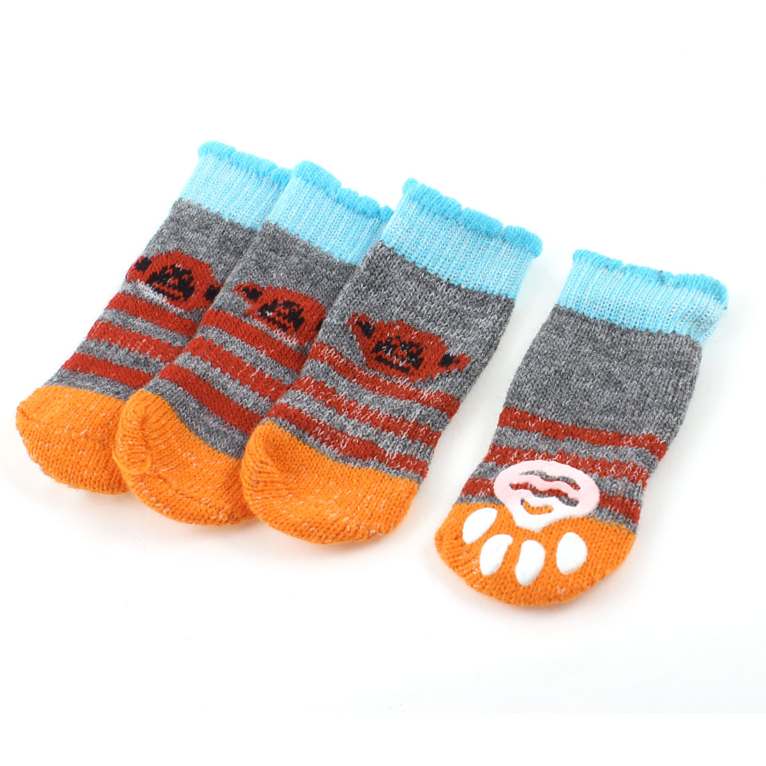 2 Pairs Knitted Gray Blue Stripe Paw Printed Elastic Pet Dog Puppy Socks