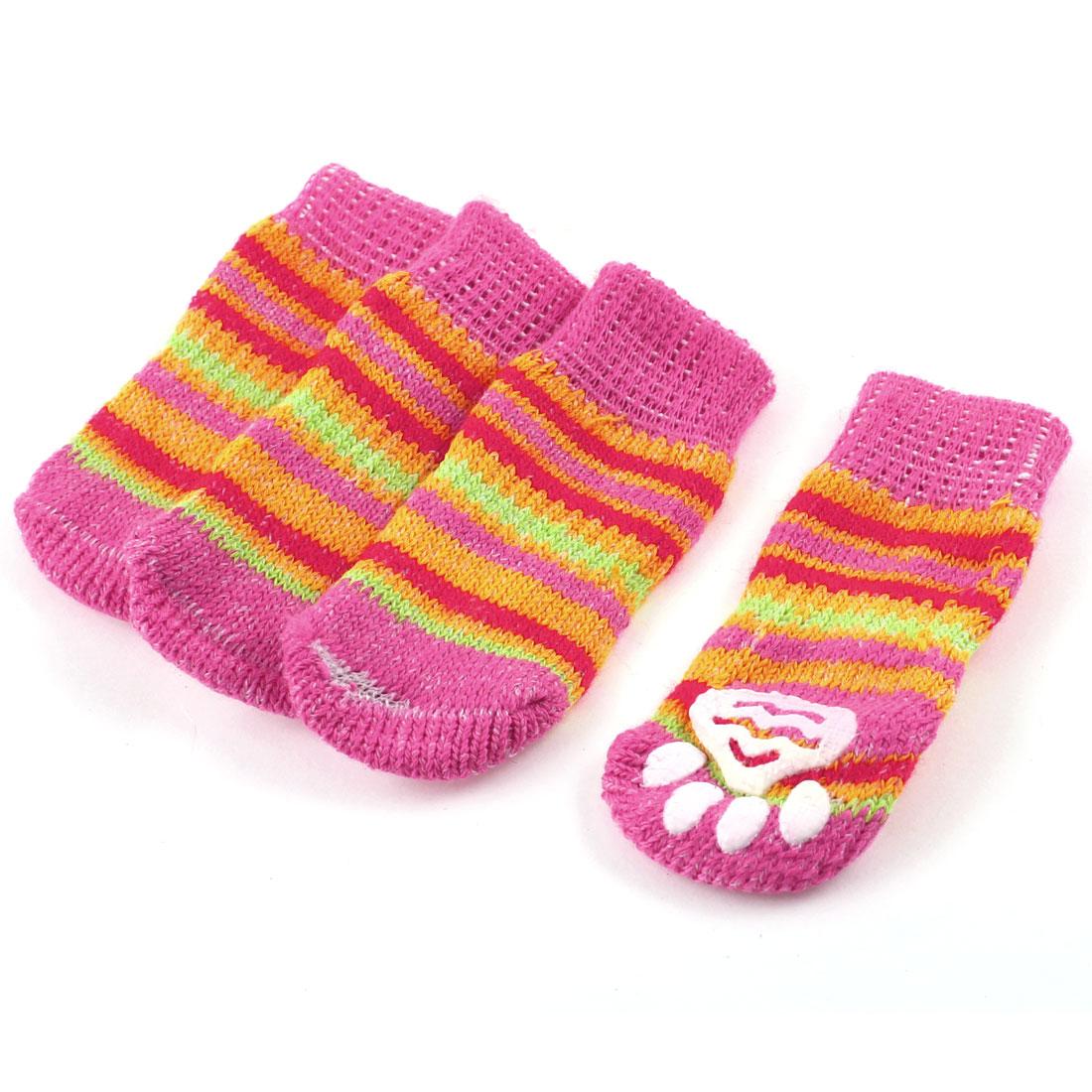 2 Pairs Fuchsia Pinstripe Printed Elastic Cuff Nonslip Pet Dog Yorkie Cat Socks