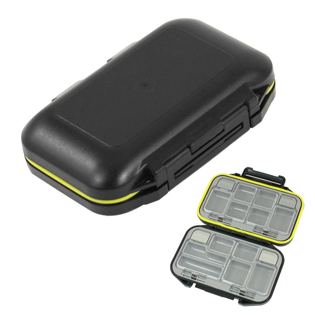 Black Plastic 12 Compartment Fishing Hook Case Box Organizer
