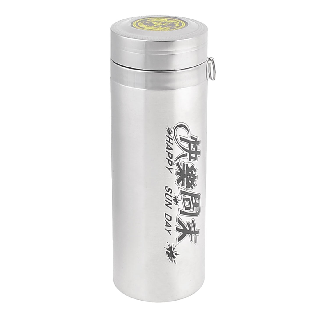 Camping Hiking Silver Tone Chinese Print Insulated Vacuum Bottle 300ml