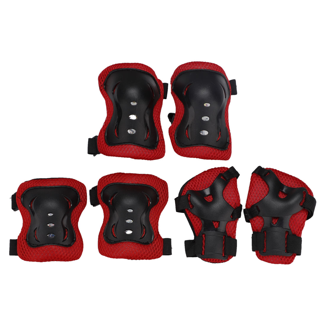 Kids Skating Palm Elbow Knee Support Shield Protector Cover Set Red 6 in 1