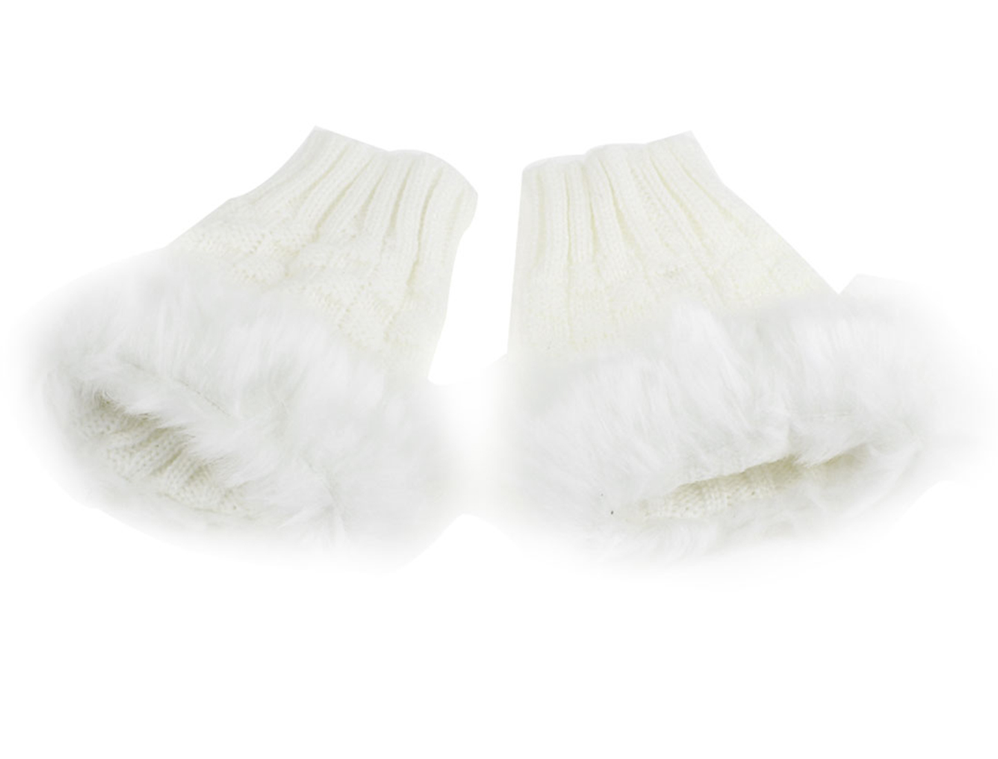 Pair White Faux Fur Winter Warm Short Fingerless Gloves for Lady