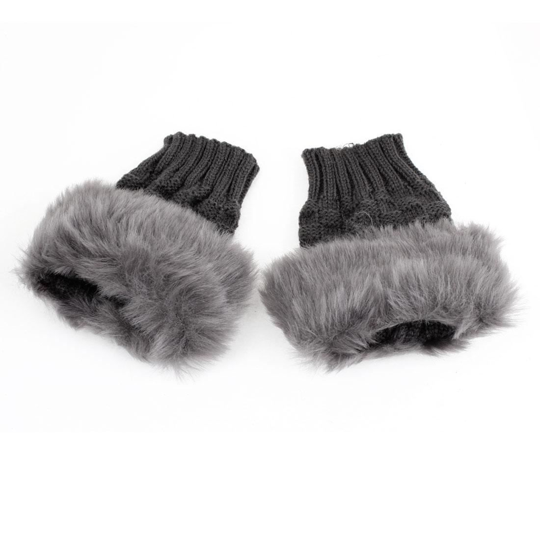 Woman Pair Faux Fur Thumb Hole Fingerless Wrist Gloves Dark Gray