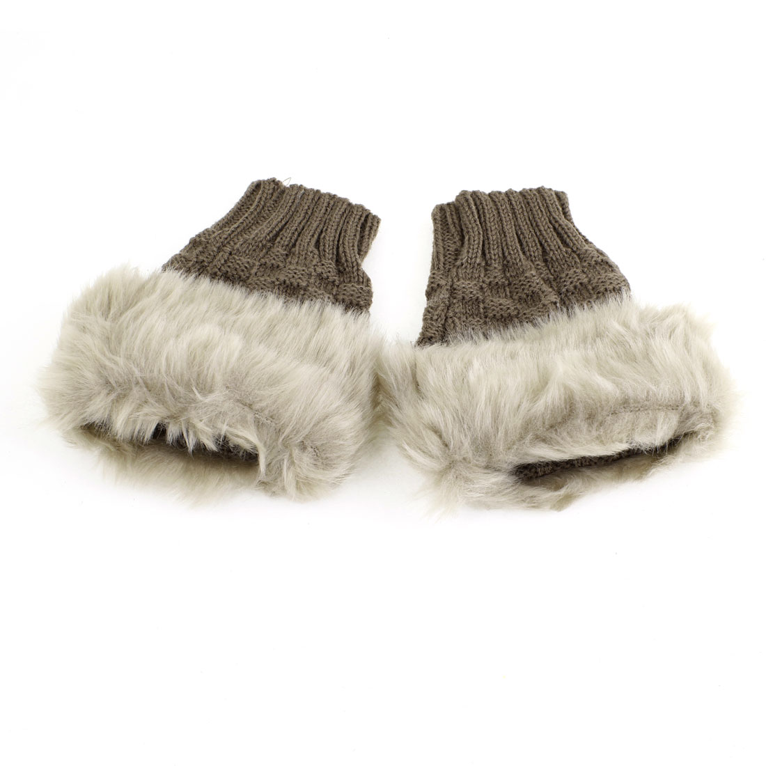 Pair Light Brown Faux Fur Thumb Hole Fingerless Wrist Gloves for Lady