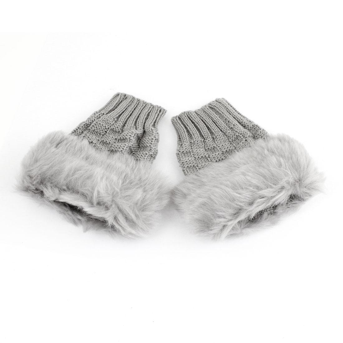 Lady Pair Faux Fur Thumbhole Light Gray Fingerless Short Gloves