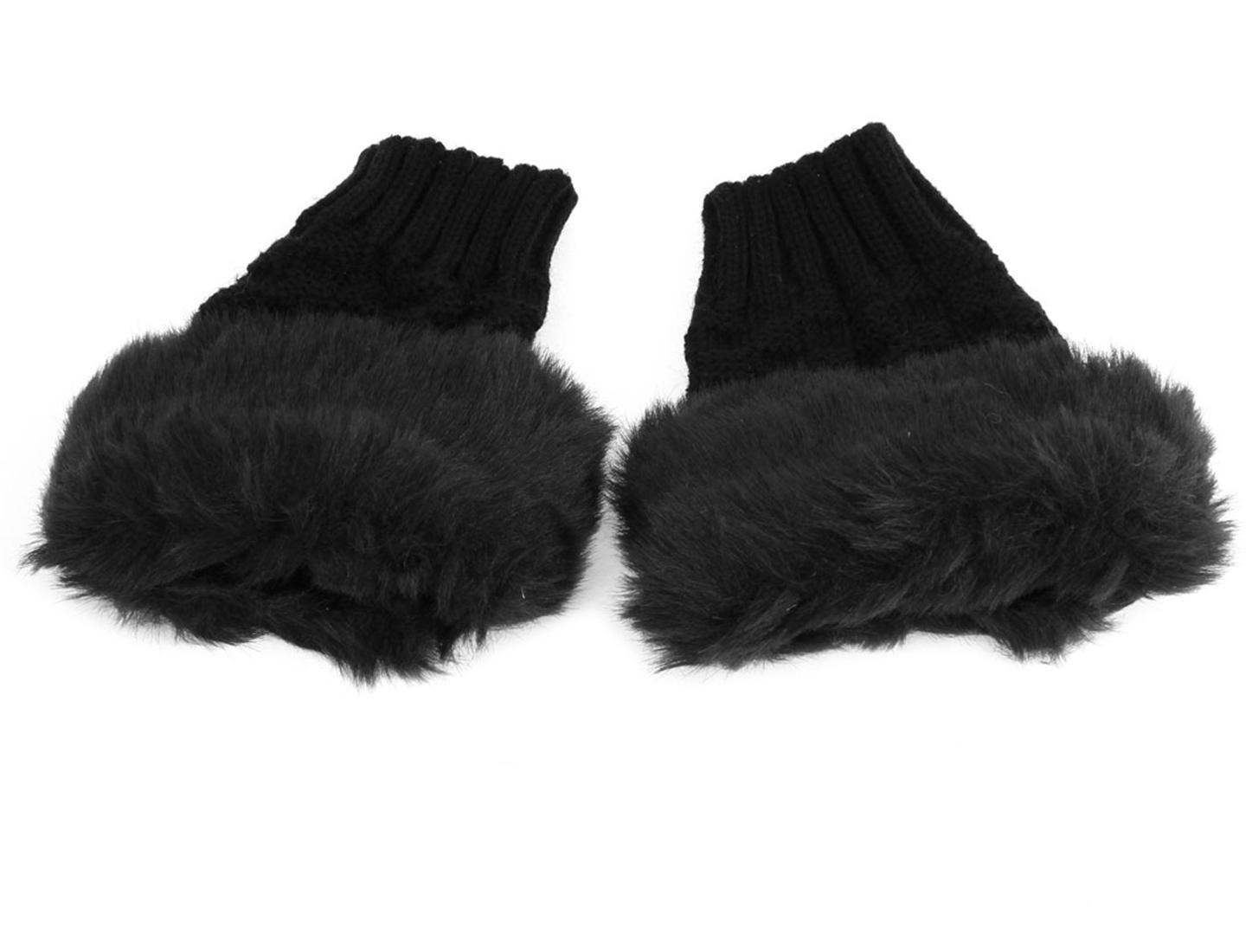 Woman Pair Black Faux Fur Thumb Hole Winter Wrist Fingerless Gloves