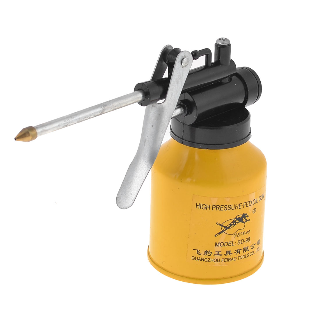 "3.3"" Long Nozzle Metallic Bottle High Pressure Feed Oil Gun Dark Yellow"