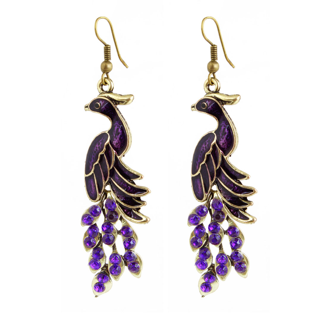 Pair Purple Faux Crystal Metal Peacock Dangling Hook Earrings for Lady