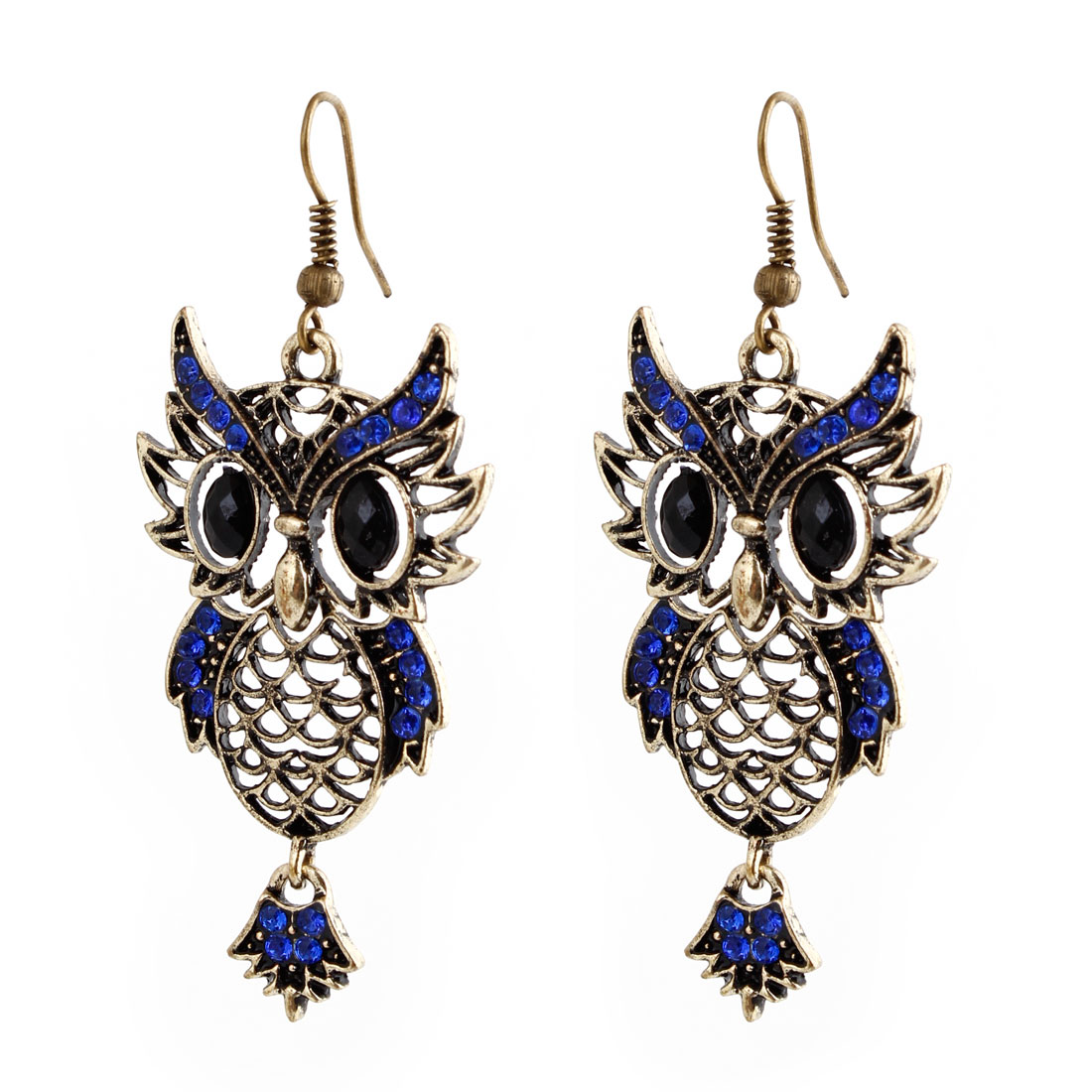 Pair Bronze Tone Blue Hollow Metal Owl Pendant Fish Hook Earrings for Lady