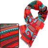 Unisex Red Aqua Wave Pattern Rectangle Shape Jacquard Designs Knitted Scarf