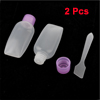 2 Pcs Clear Purple Plastic Makeup Cream Bottle Container w Spoon
