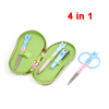 Slipper Shoes Zipper Pocket Blue Cat Print Nail Care Tool Set 4 Pcs