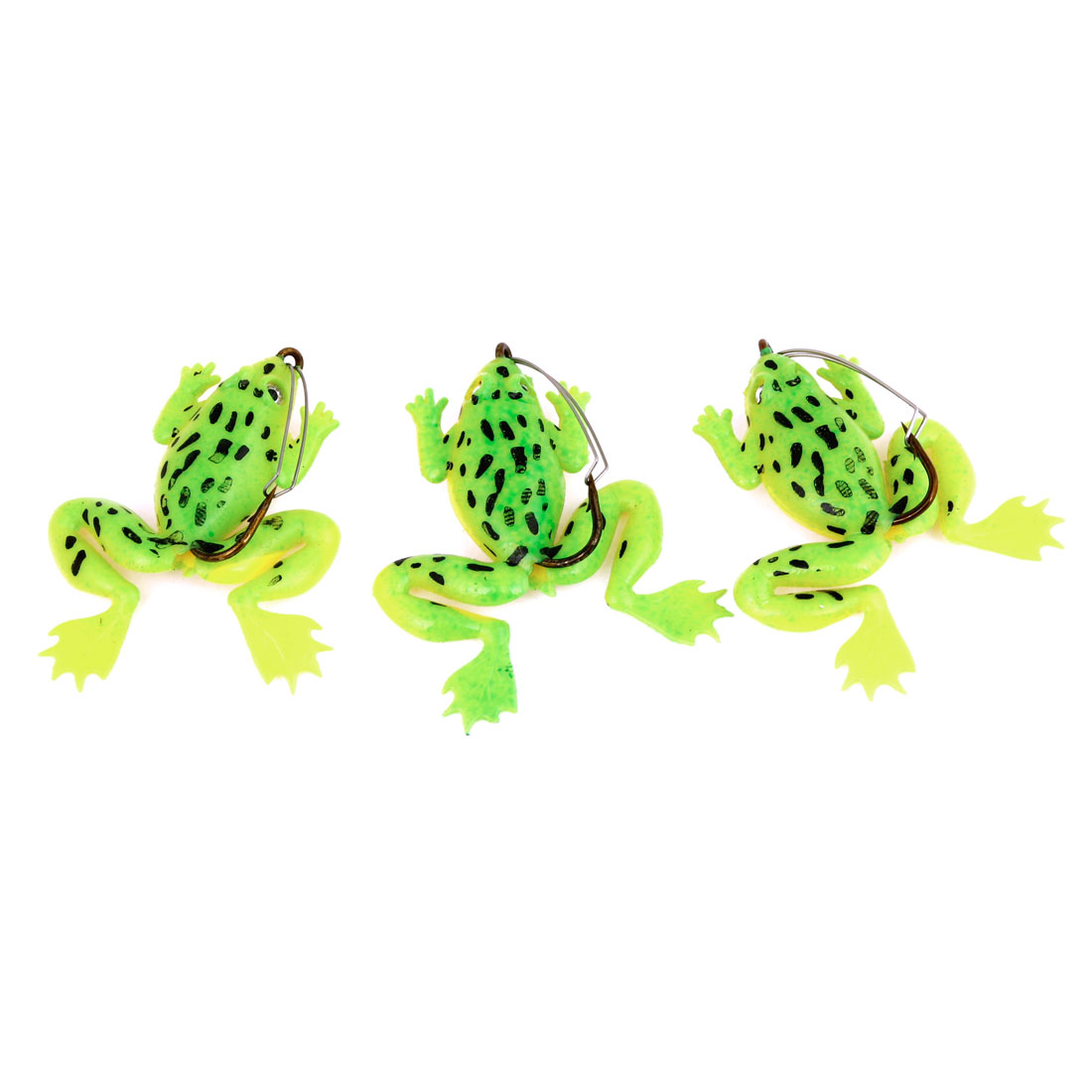 Fishing Lure Frog Design Simulation Noctilucent Swimbait Tool Green 3 Pcs w Hook