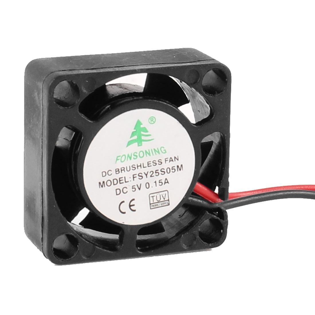 25mm x 25mm x 10mm Sleeve Bearing 2 Terminal 0.15A 5V DCCooling Fan Black