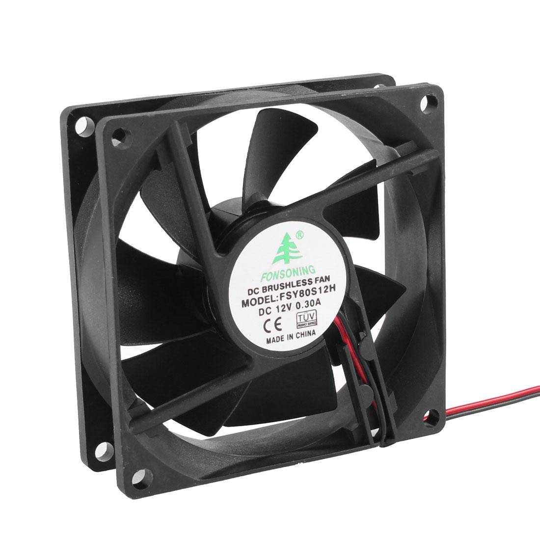 8cm 80mm DC 12V 2 Terminal Brushless CPU Computer Case Cooling Cooler Fan